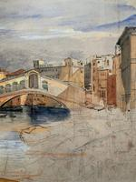 Large Early 1900s Venetian Venice Landscape Watercolour Study Sketch Painting (4 of 14)