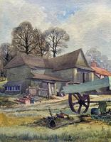 The Green Cart by R.Coleman 1971 - Fine Farmstead Landscape Watercolour Painting (4 of 11)