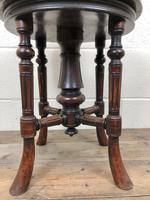 Antique Victorian Walnut Piano Stool with Adjustable Height (10 of 11)