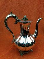 Antique Pumpkin Shaped Silver Plated Coffee Water Tea Pot c.1830