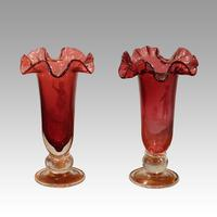 Pair of Mary Gregory Cranberry Glass Vases (3 of 5)