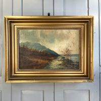Antique Scottish Landscape Oil Painting with Sheep on Track by Loch Signed B Clark 1918 (2 of 10)