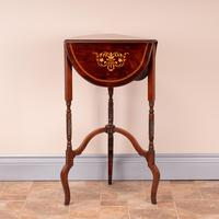 Edwardian Inlaid Rosewood Drop Leaf Occasional Table (17 of 23)