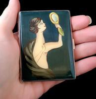 Vintage Art Deco Silver and enamel cigarette case (3 of 13)