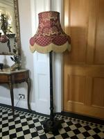 Antique Chinoiserie Black Lacquered, Hand Painted Floor Lamp with Shade (6 of 10)