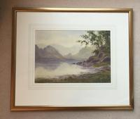 Edward H.Thompson Pair of Wwatercolours of the lake district ' the jaws of borrowdale, derwenter' and   ' eventide,rydal water' (3 of 5)