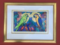 Simon Bull Original Painting titled Love birds and Macaws 1/1