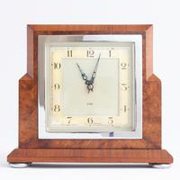 Smiths Art Deco Burr Walnut Cased 8-Day Mantle Clock c1935
