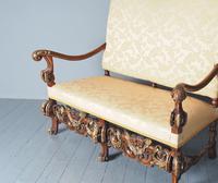Charles II Style Gilded Walnut Humpback Sofa (4 of 11)