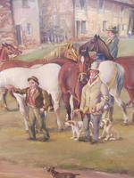 Oil on Board 'a hunting we do go' Artist R M Crompton 1930s (9 of 10)