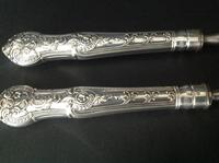 Pair of Antique Victorian Silver Serving Forks - 1873 (2 of 8)