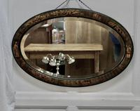 Black Lacquer Chinoiserie Oval Wall Mirror