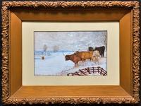Edwardian Primitive School - Highland Cattle in Landscape Watercolour Painting