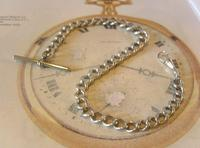 Antique Silver Pocket Watch Chain 1890s Victorian Graduated Curb Link Albert & T Bar (2 of 11)