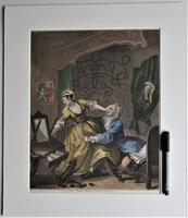 William Hogarth, Pair of Original Prints, Later Hand Colour, Before and After Engraved 1736 (3 of 10)