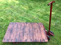 English Vintage Railway Willmot Trolley Oak Iron Plank Top Coffee Wheel Table (25 of 25)