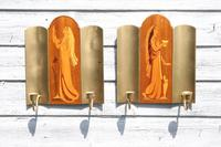 Pair of Swedish Art Deco Double Candle Sconces by Mjolby Intarsia c.1930 (3 of 21)