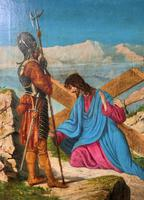 Lovely 19th Century Religious Old Master Christ & Cross Oil Painting - Set 14 Available (4 of 19)