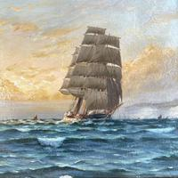 Antique Marine Oil Seascape Painting of Tall Sailing Ship at Sunset by Harry Noyes Lewis (4 of 10)