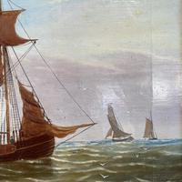 Antique Marine Seascape Coastal Oil Painting of Dutch Sailing Barges Signed J Witham 1898 (7 of 10)