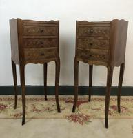 French Marquetry Kingwood Bedside Tables Rustic Distressed (4 of 13)