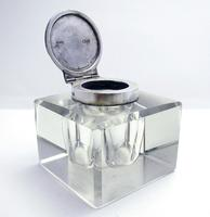Elegant Large CUBE Antique Edwardian Solid Sterling Silver & Cut Glass English Inkwell Ink Pot Box, Plain 1902