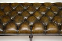 Antique Deep Buttoned  Leather & Mahogany Stool (5 of 8)