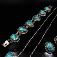 Art Deco Blue Porcelain Scarab Beetle Silver Full Set Suite - Necklace Earrings Bracelet (7 of 10)