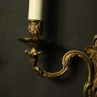 French Gilded Brass Twin Arm Antique Lights (6 of 10)