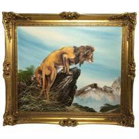 Fine Vintage Art 20th Century Oil Canvas Painting African Standing Lion Portrait (8 of 10)