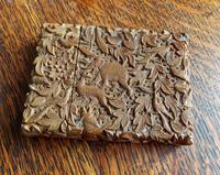 Rare Victorian Stunning Chinese Export Sandal Wood Carved Elephant Card Case (13 of 13)