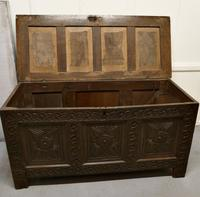 Large 18th Century Carved Oak Coffer (5 of 8)