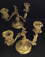 Very Good Pair of Rococo Style Antique Gilt Cast Brass Candelabra (5 of 6)