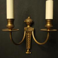 French Gilded Twin Arm Antique Wall Lights (3 of 10)