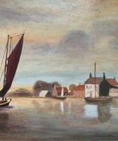 Contemporary, British School - Sailing on the Estuary - Seascape Oil Painting (6 of 11)