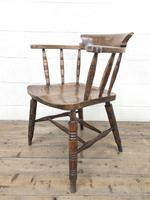 Antique Ash and Elm Smoker's Bow Chair (m-2303) (6 of 10)