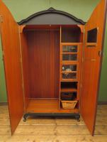 Vintage Black Painted 1950s Armoire Wardrobe, Gothic Shabby Chic (5 of 16)