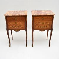 Pair of Antique French Inlaid Marble Top Bedside Chests (2 of 12)