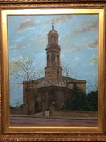 "19th Century English Oil Painting View ""St Marys Church Banbury Oxfordshire"" (19 of 24)"