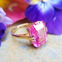 Art Deco 18ct Gold Synthetic Pink Sapphire Cocktail Ring (6 of 8)