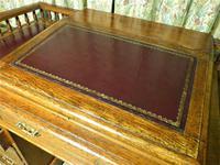 Edwardian Oak Pedestal Desk with Gallery (9 of 9)