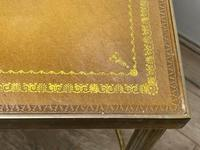 French Brass Square Leather Top Coffee Table (24 of 28)