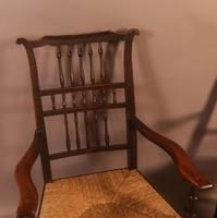 Pair of 19th Century Spindle Back Armchairs with Rush Seats (4 of 6)