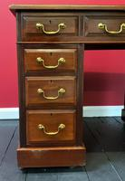 Small Antique Edwardian Leather Bound Mahogany Twin-Pedestal Writing Desk (10 of 16)