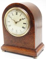 Fantastic Burr Walnut Mantle Clock Rare Snake Hands 8 Day Mantle Clock (5 of 11)