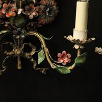 French Pair of Toleware Floral Wall Lights (7 of 10)