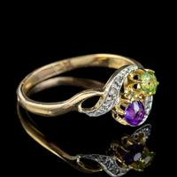 Antique French Suffragette Twist Ring 18ct Gold Amethyst Diamond Peridot Circa 1915 (3 of 7)