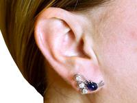 2.80ct Sapphire & 1.78ct Diamond, Platinum Earrings - Vintage c.1940 (9 of 9)
