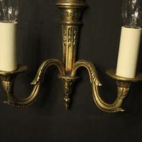 French Gilded Twin Arm Antique Wall Lights (5 of 10)