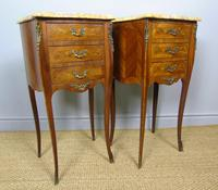 Pair of Antique French Bedside Cabinets Marble Top (2 of 6)
